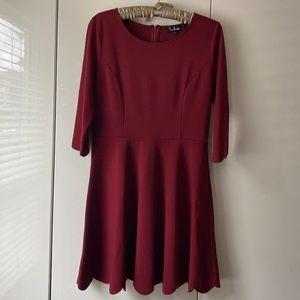 NWOT Lulus Burgundy Scallop Skater Dress L